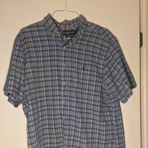 Ralph Lauren Plaid Short Sleeve Button Down, XL